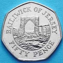 Джерси 50 пенсов 2012 год. Замок Гросне.
