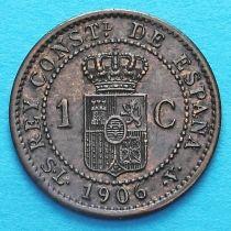 Испания 1 сентимо 1906 год.