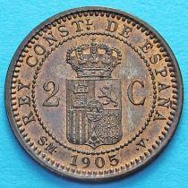 Испания 2 сентимо 1905 год.