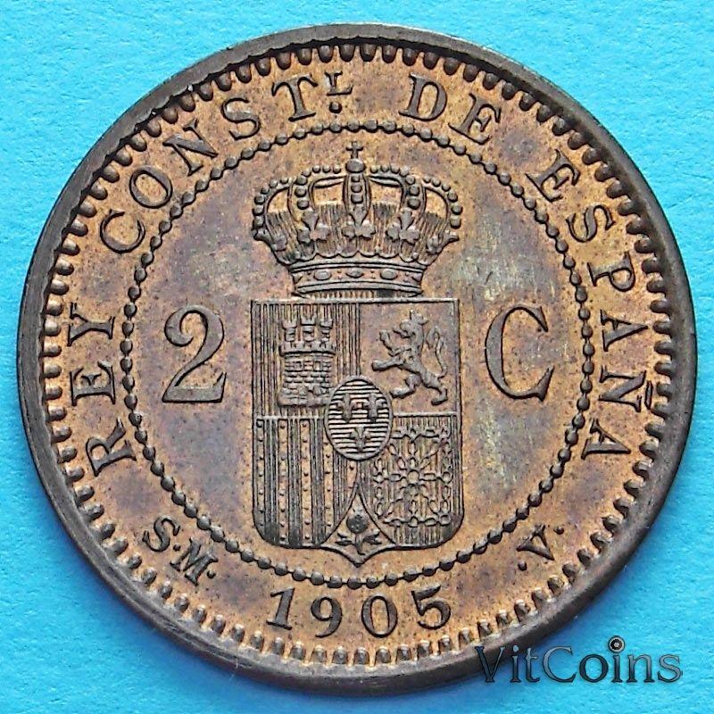 Монета Испании 2 сентимо 1905 год.