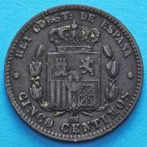 Испания 5 сантимов 1879 год.