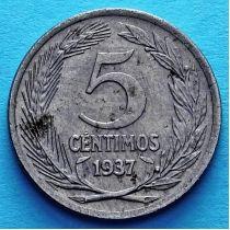 Испания 5 сентимо 1937 год.