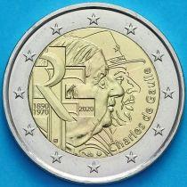 Франция 2 евро 2020 год. Шарль де Голль.