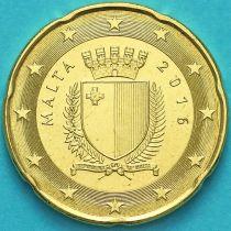 Мальта 20 евроцентов 2016 год. F