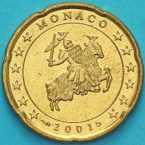Монако 20 евроцентов 2001 год.