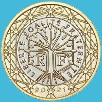 Франция 1 евро 2021 год. Loose новый знак гравёра.