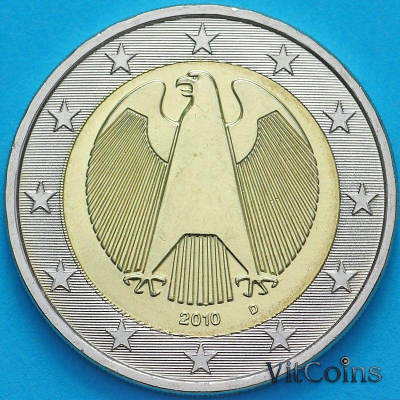 Монета Германия 2 евро 2010 год. D