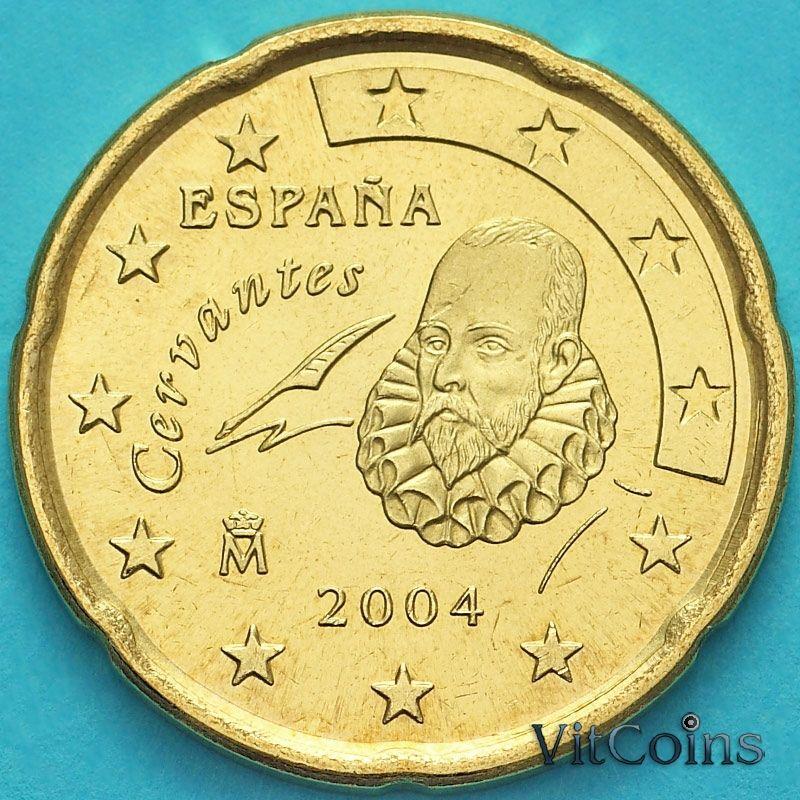 Монета Испания 20 евроцентов 2004 год.