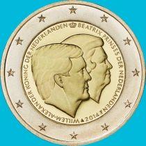 Нидерланды 2 евро 2014 год. Король Виллем-Александр и принцесса Беатрикс