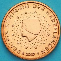 Нидерланды 1 евроцент 2007 год. (тип 1)