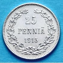 Финляндия 25 пенни 1915 год. Серебро