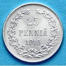 Финляндия 25 пенни 1916 год. Серебро.