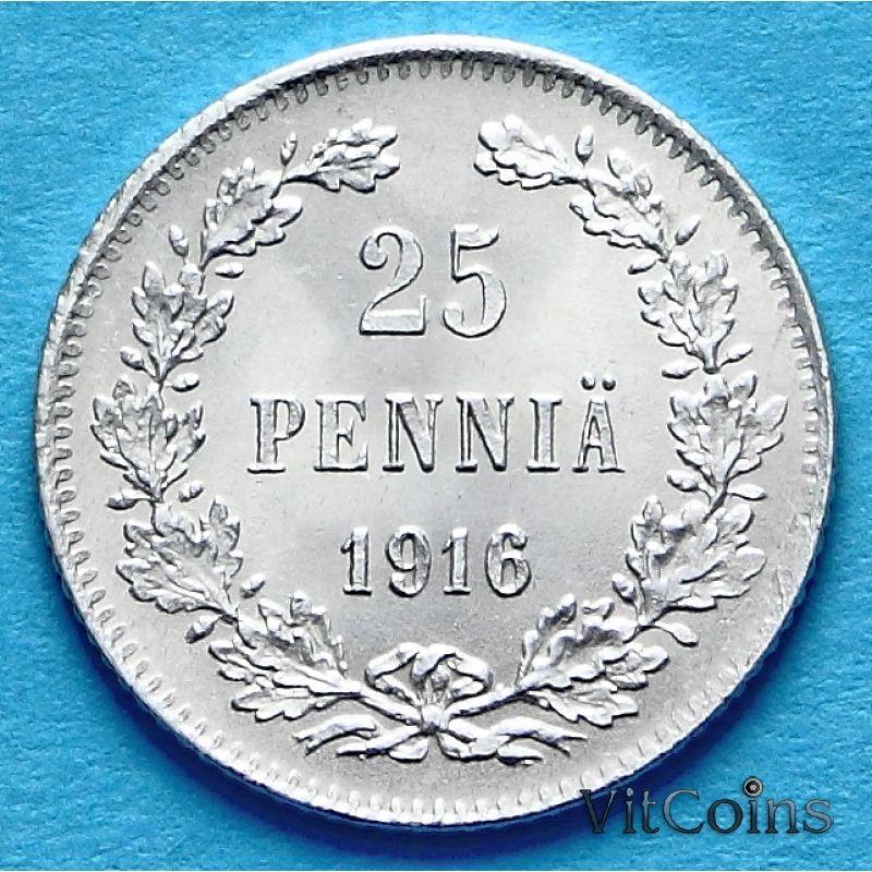 Монета Финляндии 25 пенни 1916 год. Серебро