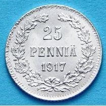 Финляндия 25 пенни 1917 год. Серебро.