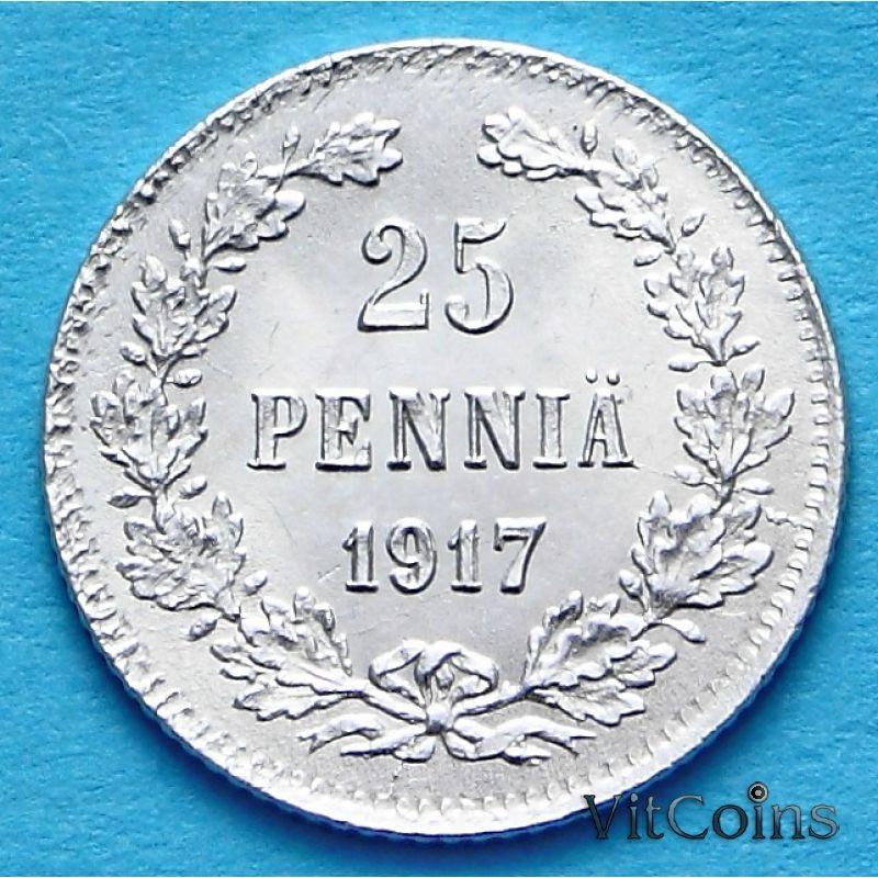 Монета Финляндии 25 пенни 1917 год. Серебро Орёл без короны.