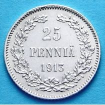 Финляндия 25 пенни 1913 год. Серебро.