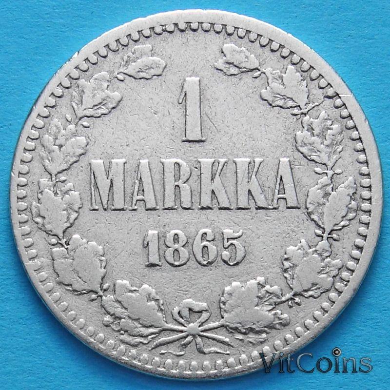Монета Финляндии 1 марка 1865 год. Серебро.