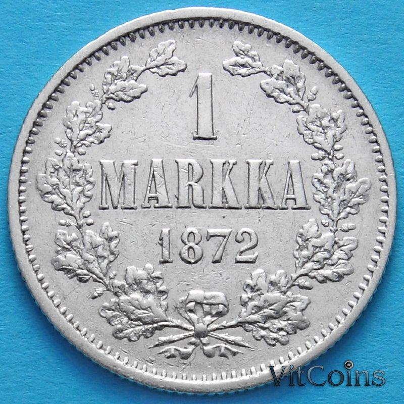 Монета Финляндии 1 марка 1872 год. Серебро.