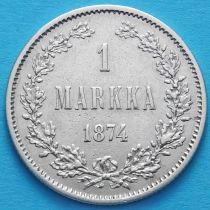 Финляндия 1 марка 1874 год. Серебро.