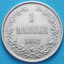 Финляндия 1 марка 1892 год. Серебро. L.