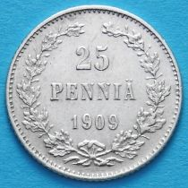 Финляндия 25 пенни 1909 год. Серебро. L.