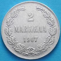 Финляндия 2 марки 1907 год. Серебро. L.