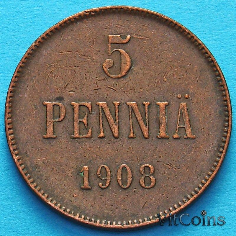 Монета Финляндии 5 пенни 1908 год.