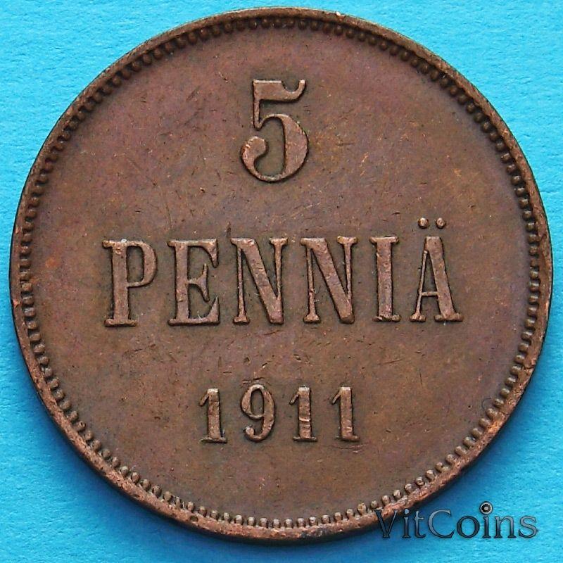 Монета Финляндии 5 пенни 1911 год.