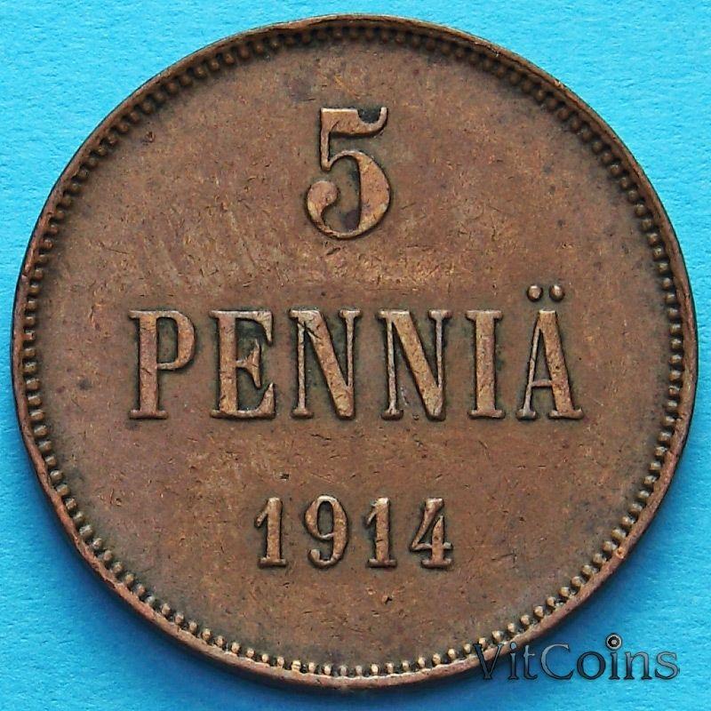 Монета Финляндии 5 пенни 1914 год.