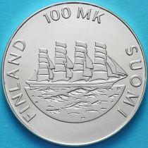 Финляндия 100 марок 1991 год. Аланды. Серебро.