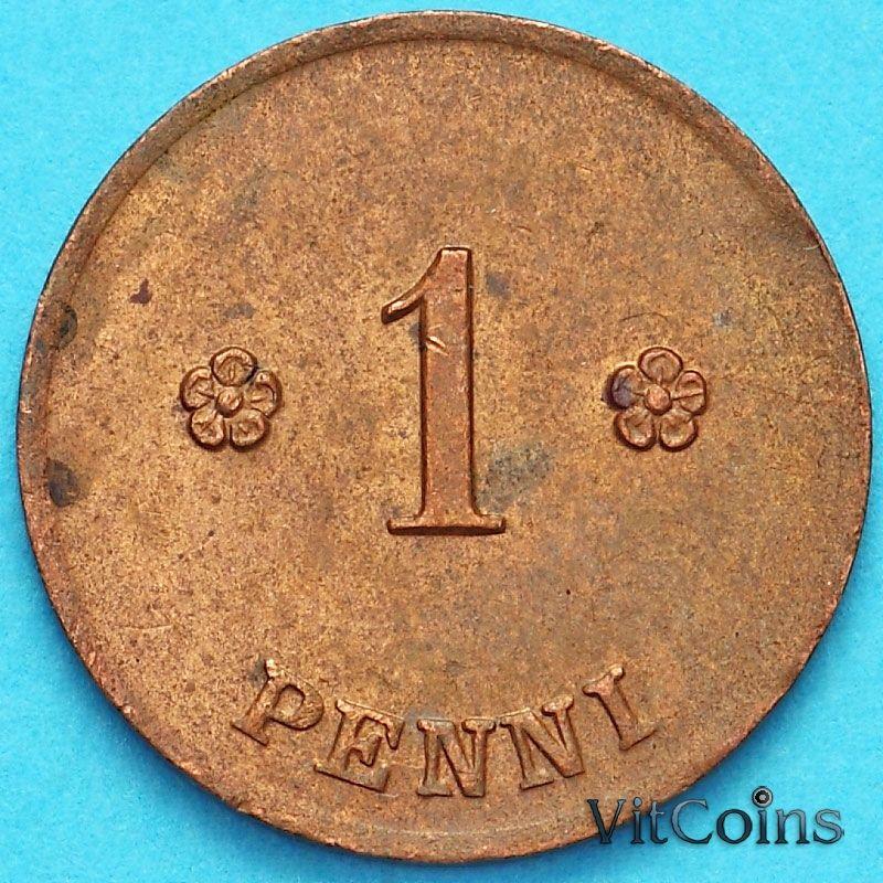 Монета Финляндия 1 пенни 1919 год.