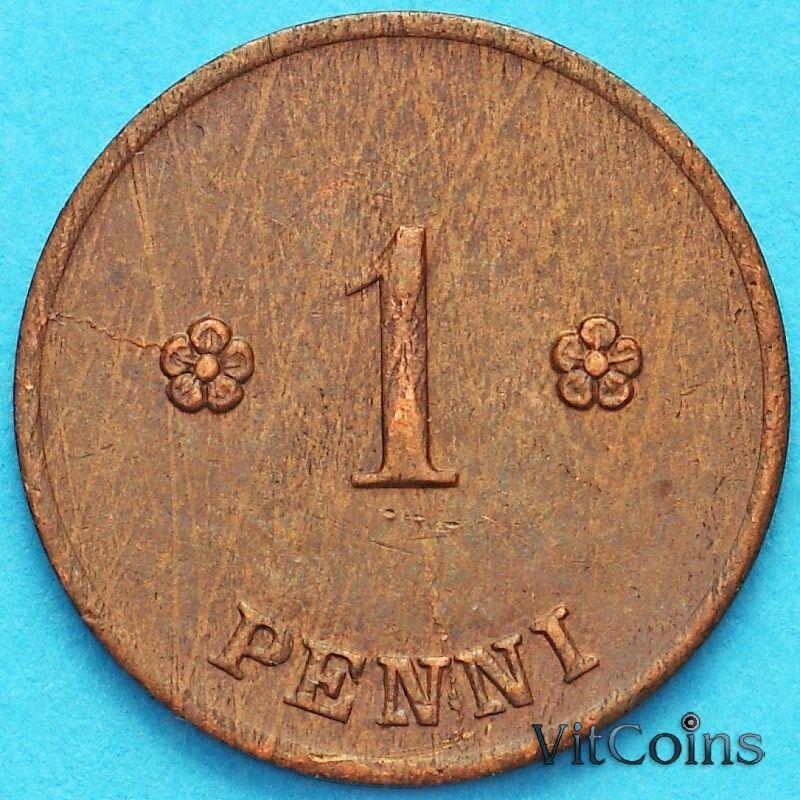 Монета Финляндия 1 пенни 1921 год.