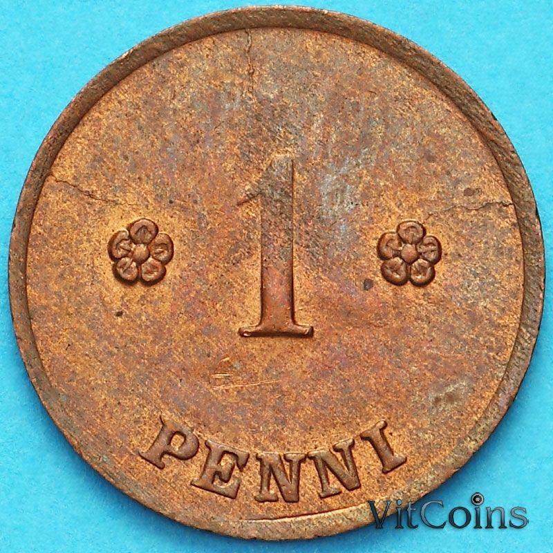 Монета Финляндия 1 пенни 1922 год.