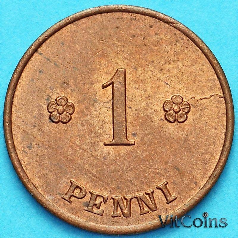 Монета Финляндия 1 пенни 1923 год.
