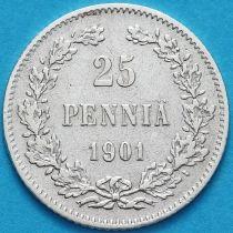 Финляндия 25 пенни 1901 год. Серебро. L.