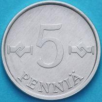 Финляндия 5 пенни 1977 год. Алюминий.