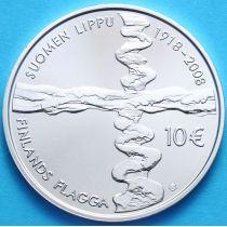 Финляндия 10 евро 2008 г. 90 лет флагу Финляндии. Серебро