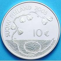 Финляндия 10 евро 2005 г. 60 лет мира. Серебро