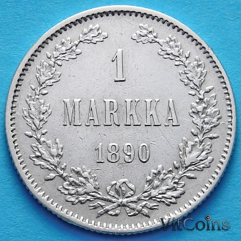 Монета Финляндии 1 марка 1890 год. Серебро.