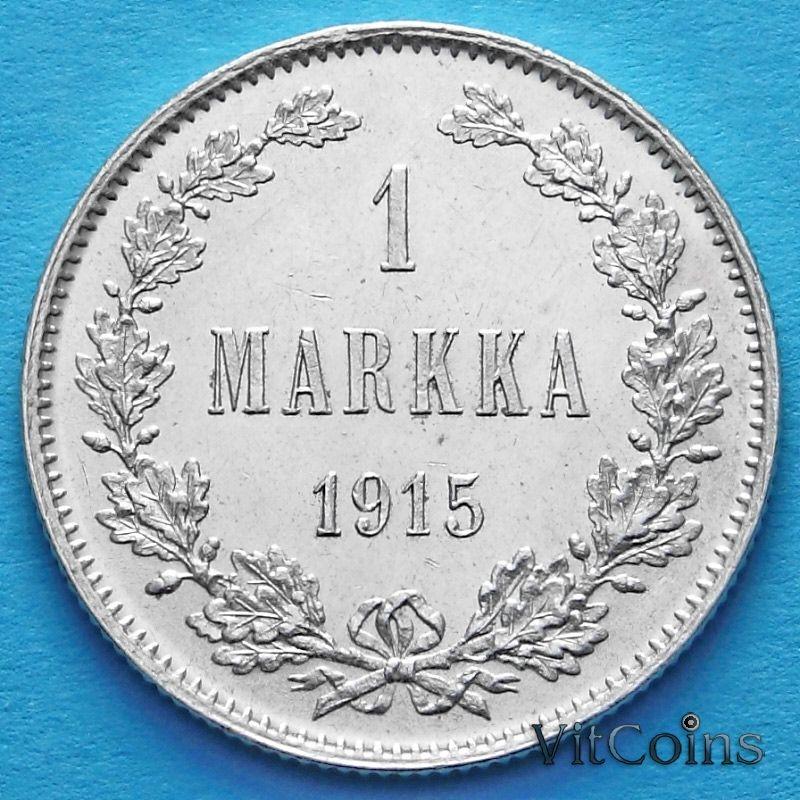 Монета Финляндии 1 марка 1915 год. Серебро.