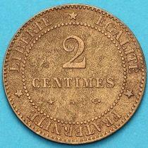 Франция 2 сантима 1877 год. Монетный двор Париж.