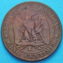Франция 5 сантимов 1864 год. Монетный двор Бордо.