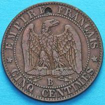 Франция 5 сантимов 1856 год. Монетный двор Руан.