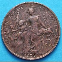 Франция 5 сантимов 1902-1909 год.