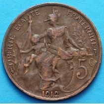 Франция 5 сантимов 1912 - 1915 год.