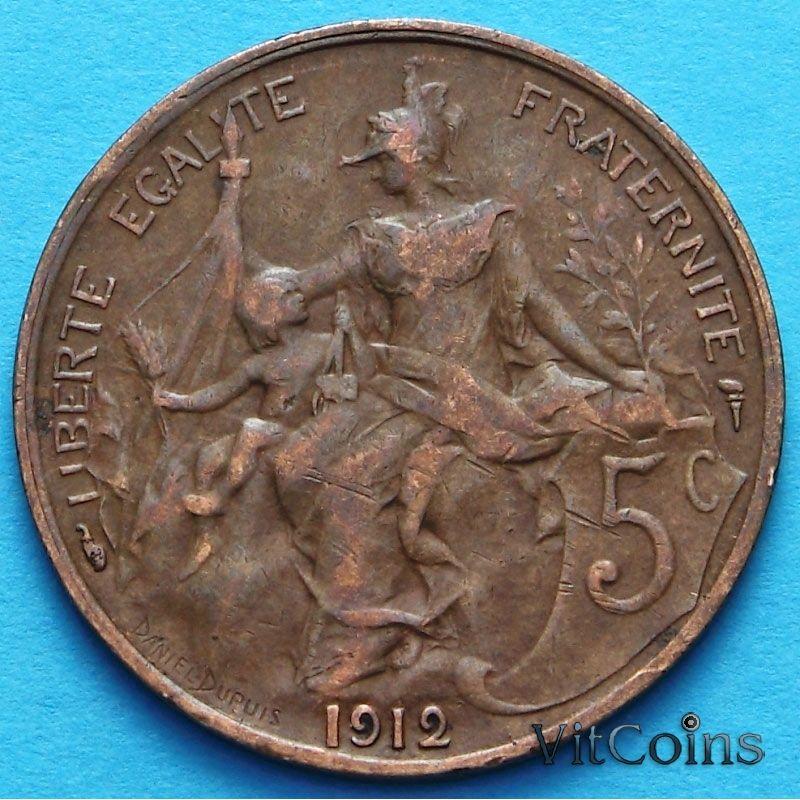 Франция 5 сантимов 1910 - 1915 год.