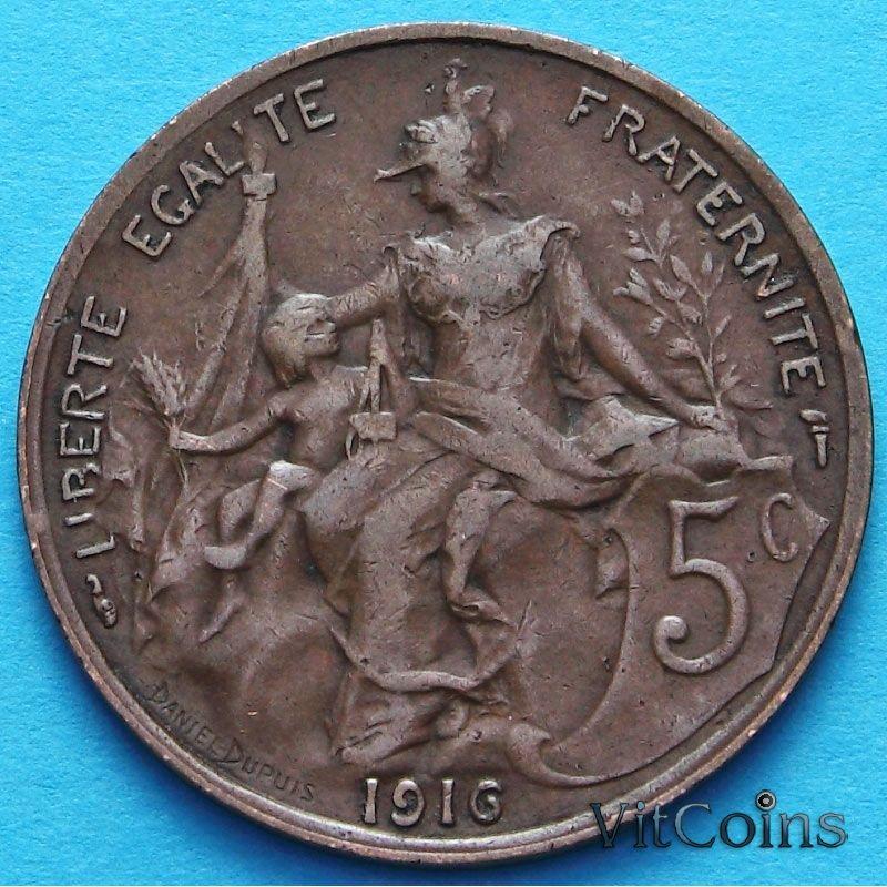 Монета Франция 5 сантимов 1916 - 1917 год. Париж.