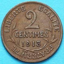 Франция 2 сантима 1913 год.