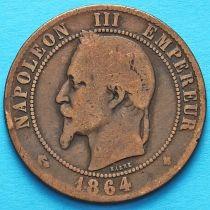 Франция 10 сантимов 1864 год. Монетный двор Страсбург.
