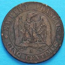 Франция 5 сантимов 1855 год. Монетный двор Париж.